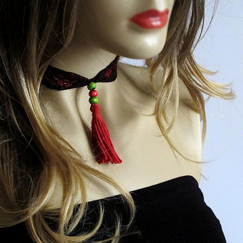 Lace tassel necklace, red, choker, women accesories, gift İdeas, elastic, beaded, handmade, for her