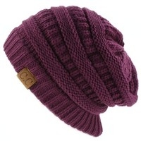 Unisex Winter Chunky Soft Stretch Cable Knit Slouch Beanie Skully Ski Hat Purple