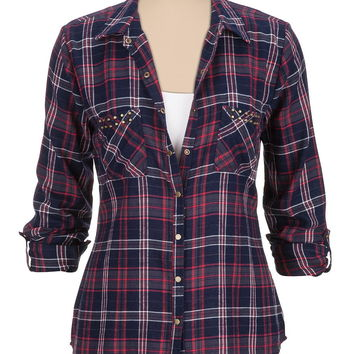 Stud embellished pocket plaid shirt