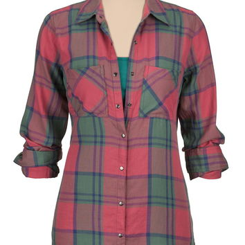 metallic snap front plaid shirt