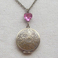 Brass flower  locket necklace with pink heart