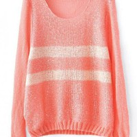 Round Neck Pink Sweater with Sequins$38.00