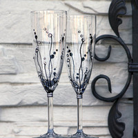 MADE to ORDER Set of 2 Hand painted Champagne Flutes