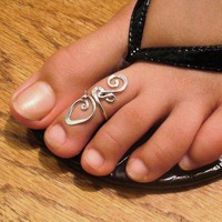 Sterling Silver Toe Ring Twisted Wire Wrapped Cute and Adjustable