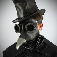 Ichabod, Steampunk Plague Doctor Mask in black