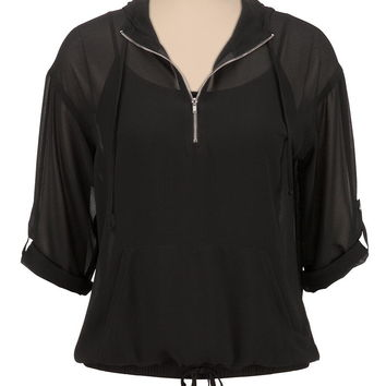 chiffon half zip hooded top