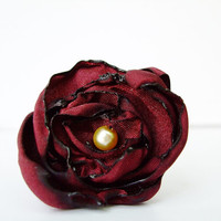 Maroon Fabric Flower Ring, Cocktail Ring, Bridesmaids Ring, Dainty Ring, Jewelry, Costume Jewelry