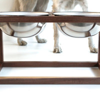 Modern Dog Bowl Holder - Large, Two Bowl