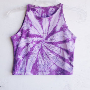 Purple Tie Dye Crop Top Flower of Life Yoga Cropped Top