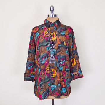 Vintage 80s 90s Abstract Shirt Blouse Top Abstract Print Shirt Floral Shirt Floral Print 100% Silk Shirt Slouchy Oversize Shirt Grunge S M L