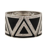 Rhinestoned Lacquered Triangle Bracelet