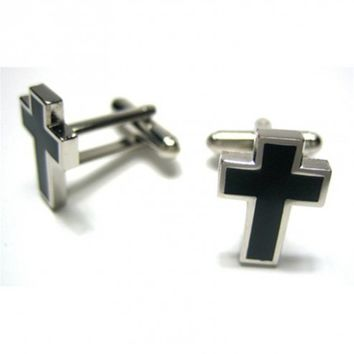 BLACK HOLY CROSS CUFFLINKS