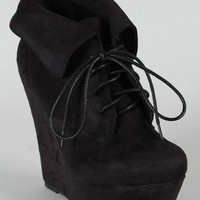 Breckelle Carrie-12 Suede Collar Wedge Bootie