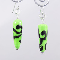 Green Glass Earrings Lime and Black Scroll Lampwork Cone Bead Earrings made with Sterling Silver
