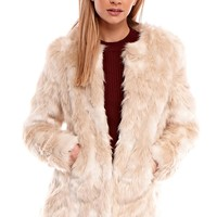 Lexy Collarless Faux Fur Jacket in Cream
