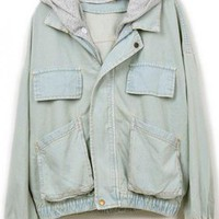 Hooded Loose Denim Outerwear$58.00