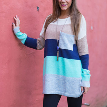 Love Today Sweater,Gray/Navy/Teal
