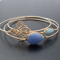 Blue Skies Ahead, Bangle Bracelet Set - Gold, Stack Bracelet Turquoise, Blue Stone Jewelry, Sky Blue Bracelet Set, Blue Sky Bangle Set