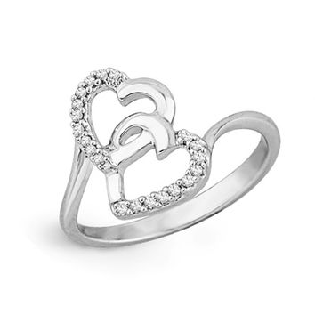 Diamond Accent Double Heart Promise Ring in Sterling Silver
