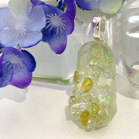 Dichroic Fused Glass Necklace Pendant  Celery Green 490