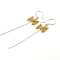 Butterfly Earrings, Silver Gold Earrings, Long Earrings, Mixed Metal