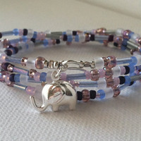 ELEPHANT GOOD LUCK Charm, Lilac Toho Seed Bead Wrap Bracelet / Necklace, Mothers Day Gift