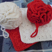 Ready to Ship: Four Piece Spa Bath Christmas Holiday Gift Set - 2 Cotton Bath Puffs, 2 Cotton Washcloths - Red and White