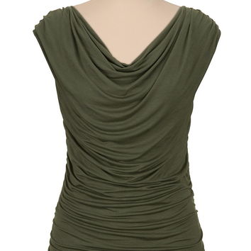 Drape neck sleeveless top
