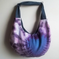 Blue Hobo bag - Blue & Purple tie dyed heart - Customized handbags
