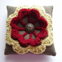 Mini pillow made of upcycled fabric and vintage yarn flower applique, Pincushion, brown, red, yellow