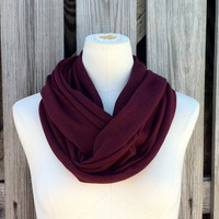 Soft Series Infinity Scarf The GRANDE All Season Scarf  in WINE BURGUNDY