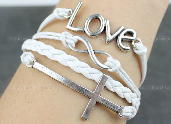 fashion- Silvery Love Bracelet Cross Bracelet Infinity Karma Bracelet Wish Bracelet Bangle Cuff Bracelet