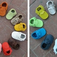Baby Leather Moccasins - 34 colors!