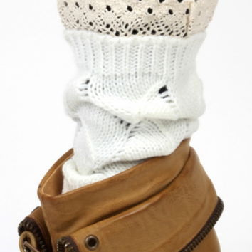 Crochet Boot Toppers--White