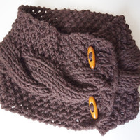 Brown Knit cable Chunky Neckwarmer, Scarflette