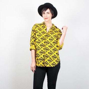 Vintage 80s CALVIN KLEIN Shirt Yellow Black 1980s Blouse Mod Collared New Wave Yellow Black Houndstooth Print Hipster Top S Small M Medium
