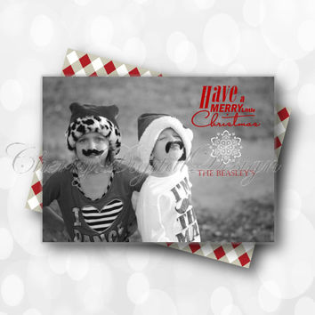 Merry Christmas Card with Photo.  Photo Holiday Card.  Any color you would like!! Printable Holiday Card, PDF.