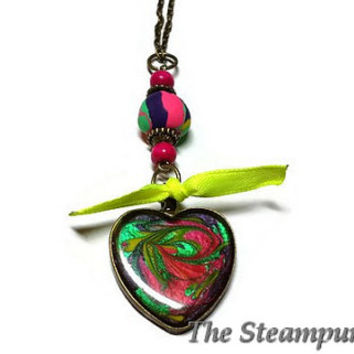 Rainbow Heart Necklace Custom Painted One of a Kind