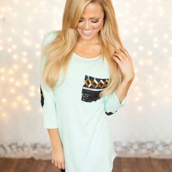 Sequins on Pocket and Elbows Top Mint