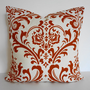 Decorative Pillow Cover, Modern Throw Pillow Cover, Burnt Orange, Rust, 16 x 16