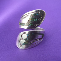Unique Dual Face South West Style Designed Ring with Turquoise Stones, Size 6 1/4