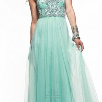 Pleated front prom dresses by Faviana