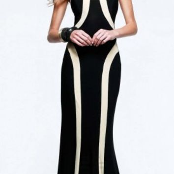 Vertical striped halter prom dresses by Faviana