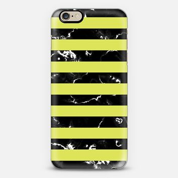 Lime Green Black Marble Stripes iPhone 6 case by Organic Saturation | Casetify
