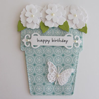 Happy Birthday Card, Flower Pot Card, Butterfly