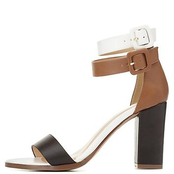 Color Block Chunky Heel Sandals by Charlotte Russe - Black
