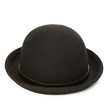 Faux Leather-Band Bowler Hat by Charlotte Russe - Black