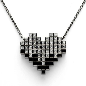 Francesca Grima: NECKLACES: 'Pixel Heart' 51 Diamond Necklace