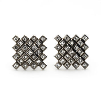 Francesca Grima: EARRINGS: Diamond Pixel Pyramid Earrings