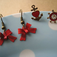 Bow Earrings (Red) with Nautical Earrings